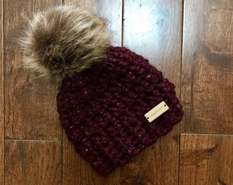 47392c431f2 Gender Neutral Burgundy with Sparkle and Natural Faux Fur Pom Pom Winter Hat
