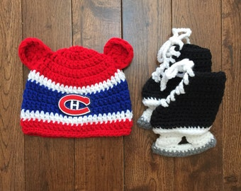 4c411f85382 Montreal Canadiens Crochet Bear Ears Hat with NHL Patch and Hockey Skates  Set Photo Prop