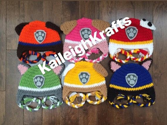 handmade baby hat crochet hat handmade hat crochet Paw hat toddler hat patrol hat animal hat ready to ship puppy hat character hat