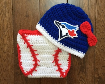Toronto Blue Jays Crochet Hat With Mlb Patch And Baseball
