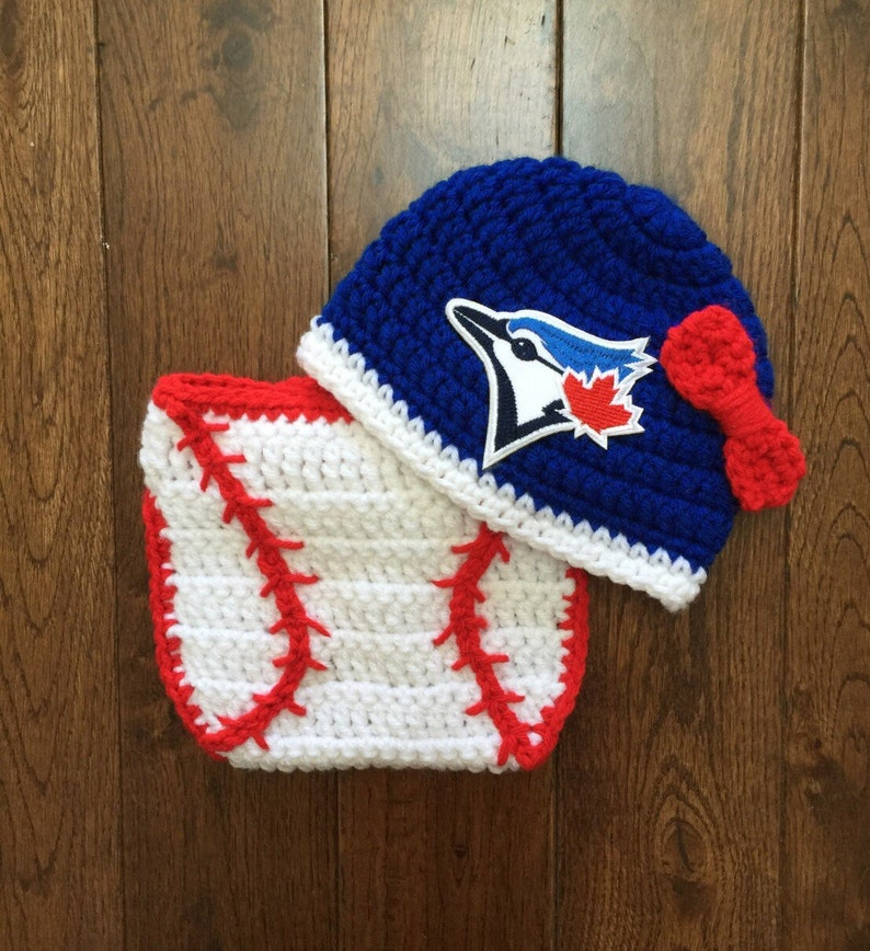 Toronto Blue Jays Baby Girl Crochet Bow Hat with MLB Patch and  6850c866d42a
