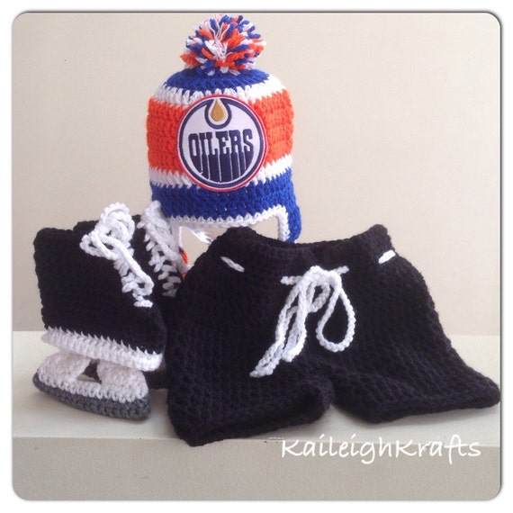 dd3e41586 Edmonton Oilers Crochet Hat with NHL Patch Breezer Hockey