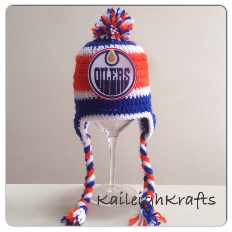 f5077b87d Handmade Edmonton Oilers Crochet Hat with NHL Patch  Photo
