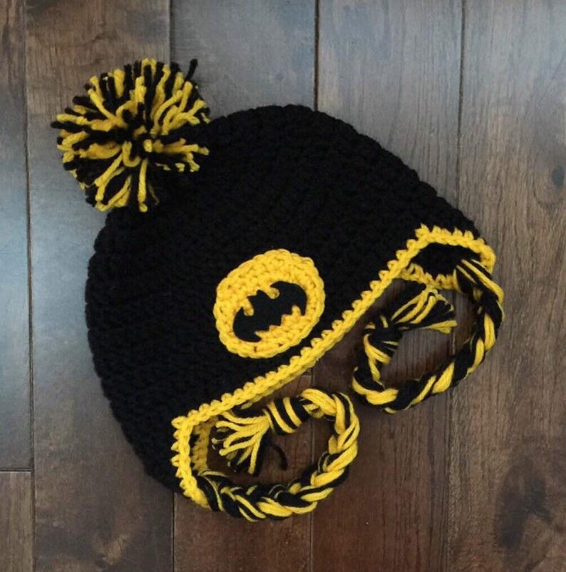 9720c9712 Batman Crochet Hat, Newborn Superhero Hat, Baby Batman Hat, Halloween Hat,  Costume, Photo Prop (made to order: newborn to child)