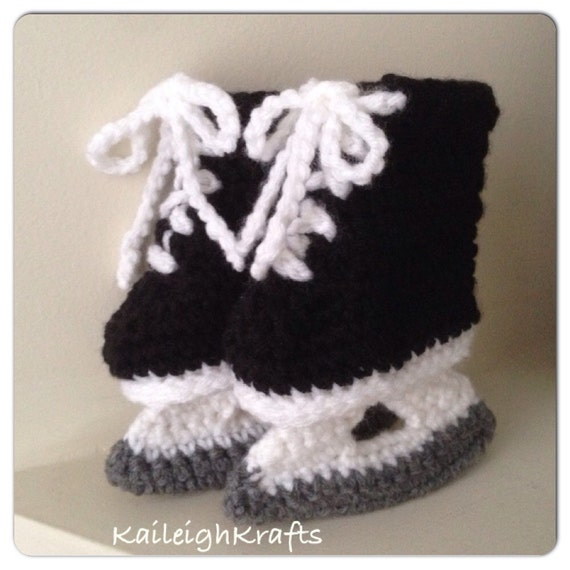 Hockey Skate Booties Baby Crochet Nhl Ice Skates Photo Prop Etsy