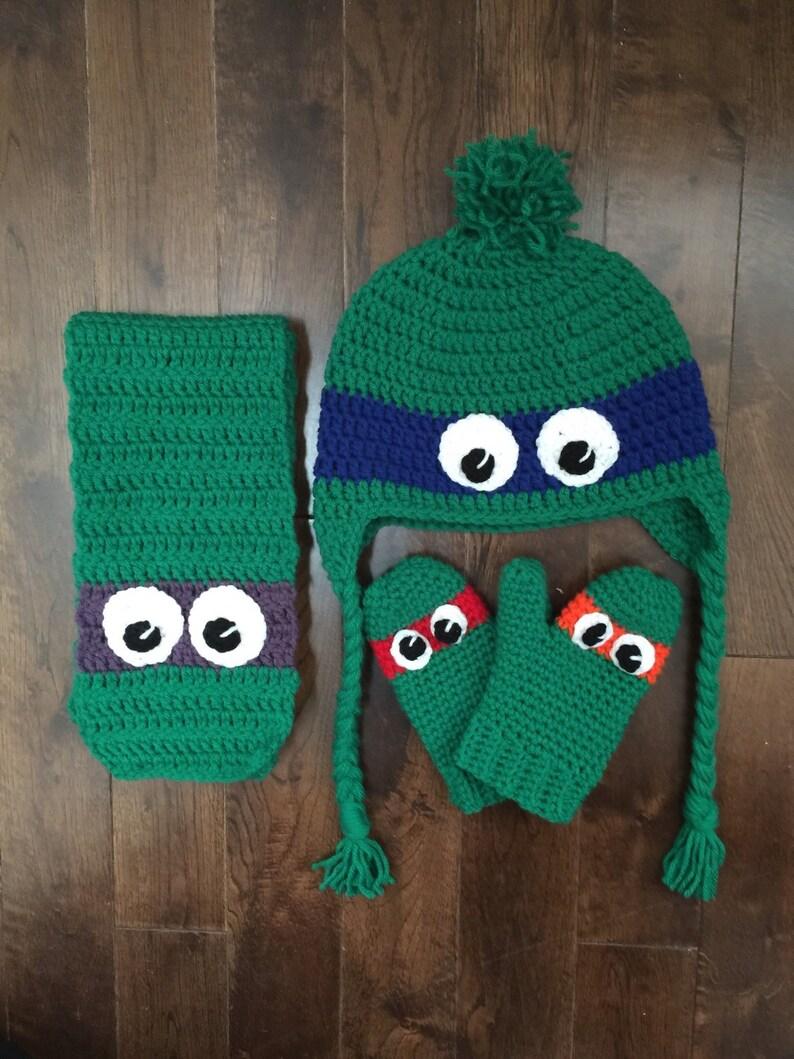 f61102bc2 Ninja Turtle Winter Set, Teenage Mutant Ninja Turtle Crochet Hat Scarf  Mittens, Photo Prop (Made to Order)