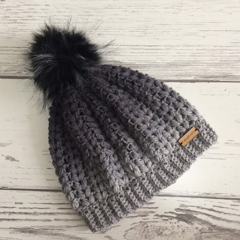 eb9f4cc8d The Lakeside Beanie Hat with Black/Grey Flecks Faux Fur Pom Pom