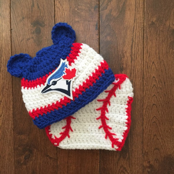 72632dc3ebb Toronto Blue Jays Crochet Bear Ears Hat with MLB Patch and