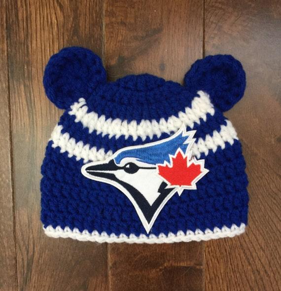 c03610e76e6 Toronto Blue Jays Crochet Baseball Bear Ears Beanie with MLB Patch