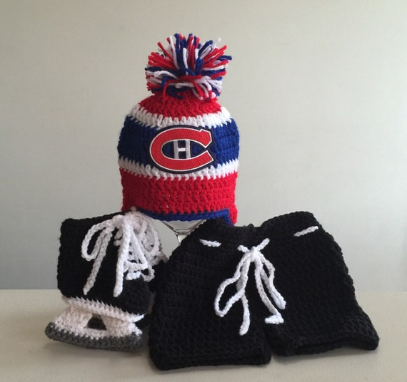 on sale f1450 d2ed5 ... low price montreal canadiens crochet hat with nhl patch breezer hockey  etsy 97c39 3ea66