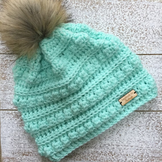 309b9dde1d7 The Kalla Bobble Hat with Faux Fur Pom Pom Crochet Winter