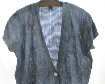 SALE! Up cycled hand dyed designer short sleeve cardigan, blue sweater, funky, designer top, lightweight woven summer knit cardigan