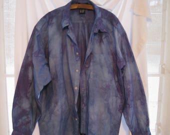Plus size dyed cotton oxford oversized blouse, tie dye shibori blue boyfriend shirt, tunic, funky long shirt, one of a kind art to wear top