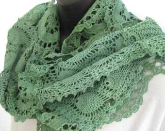 Green lace shawl, hand dyed vintage lace scarf, romantic boho lace, one of a kind crochet scarf, repurposed vintage doilies, lace wrap