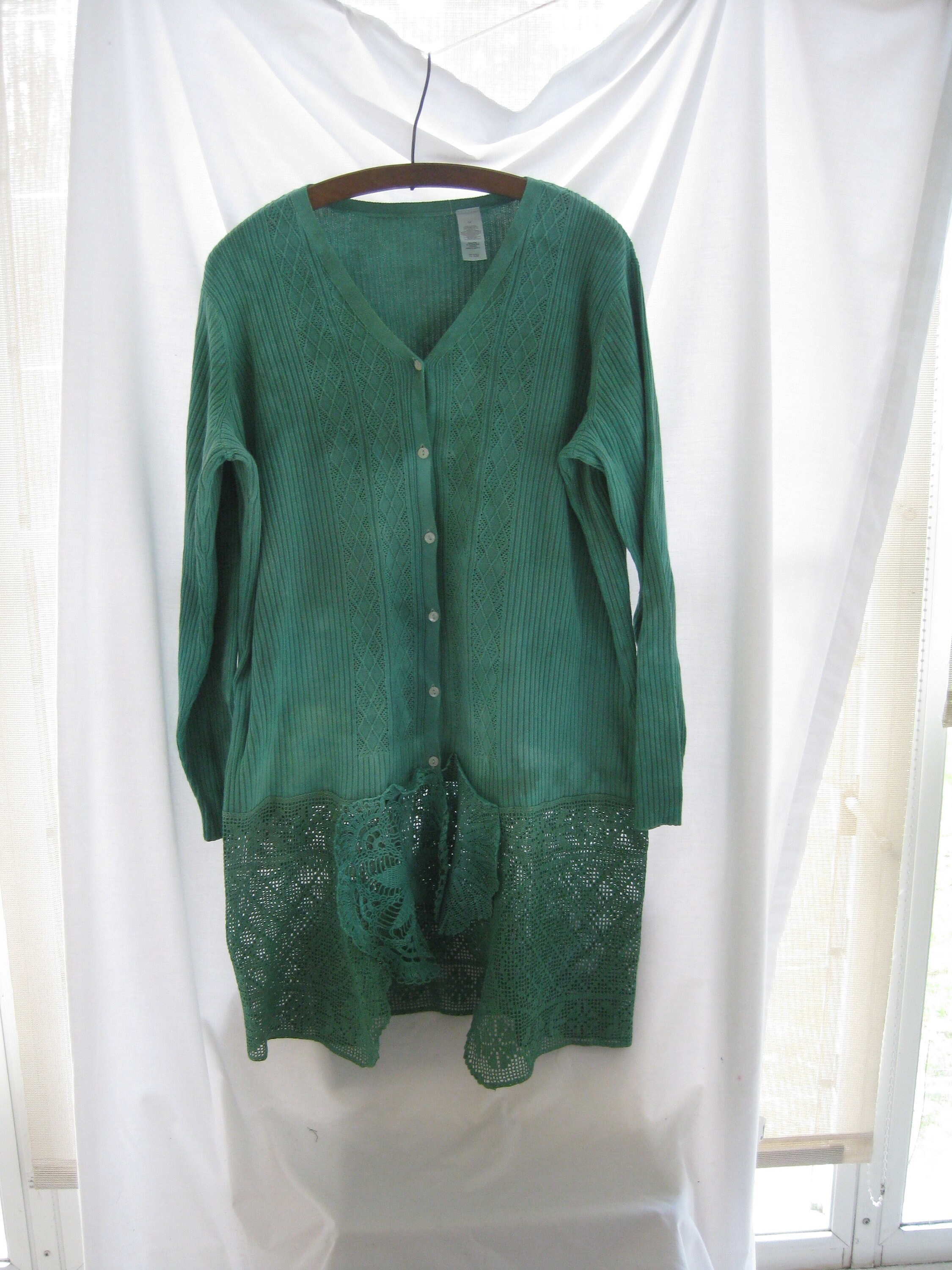 Oversized trendy hand dyed green up cycled long cotton knit e8c0a2f66