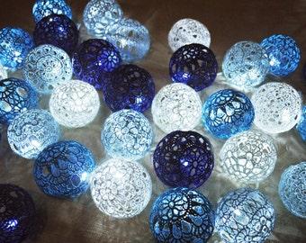 String Lights Fairy Lights Wedding Lighting Night LED Lights Bedroom Decor lamps 20 Crocheted blue shades balls garland light