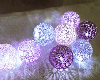 String Lights, Fairy Lights, Bedroom Decor lamps, 20 Purple shades Crocheted balls, Night Lights, Wedding Lighting