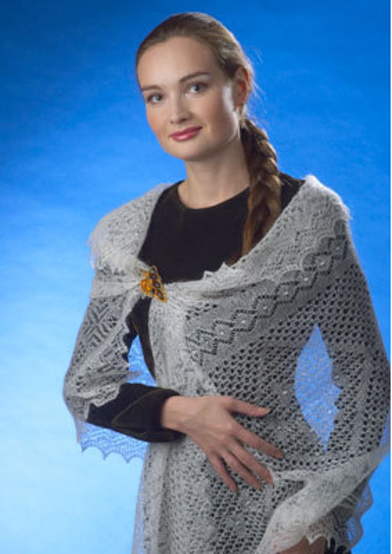 Woman shawl. Wedding shawl  Knitted  Orenburg shawl. image 1
