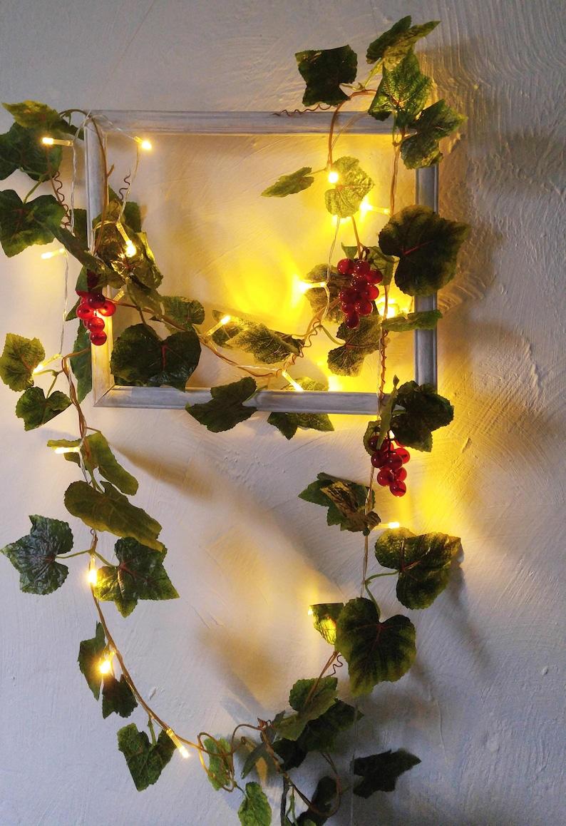String Lights Vine Leaves Fairy Lights Wedding Decoration Led Garland  Lights Holiday Lights Bedroom Decor Flowers Lights Garland