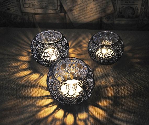 Hochzeit Tisch Herzstück Votiv Inhaber Häkeln Kerze Halter Set | Etsy