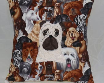 Pug cushion with applique detail