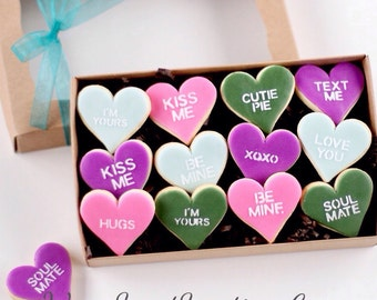 1 Dz. Mini Conversation Heart Cookies! Valentine's Day, I Love You's, Gifts and More!