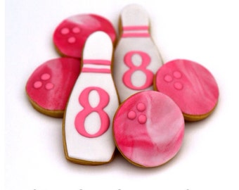Half Dz. Bowling Sets (12 cookies total) Cookies! Party Favors, Birthdays and More!
