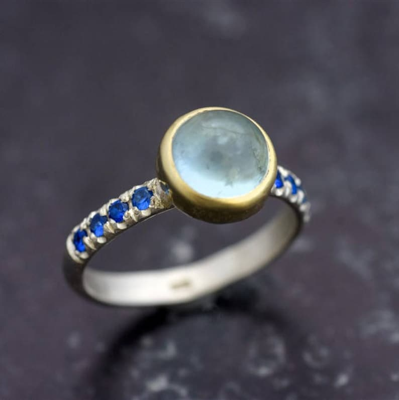 gemstone ring Aquamarine with Sapphires ring Silver and gold ring