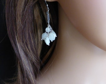 Carved Mother of Pear Drop Earrings