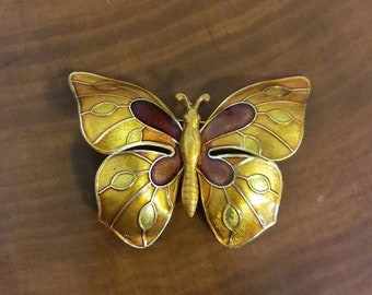 Vintage Butterfly Brooch Made in West Germany,  Large Yellow Enameled Pin