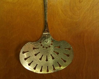 Antique Large Brass Strainer Spoon, Slotted Spatula