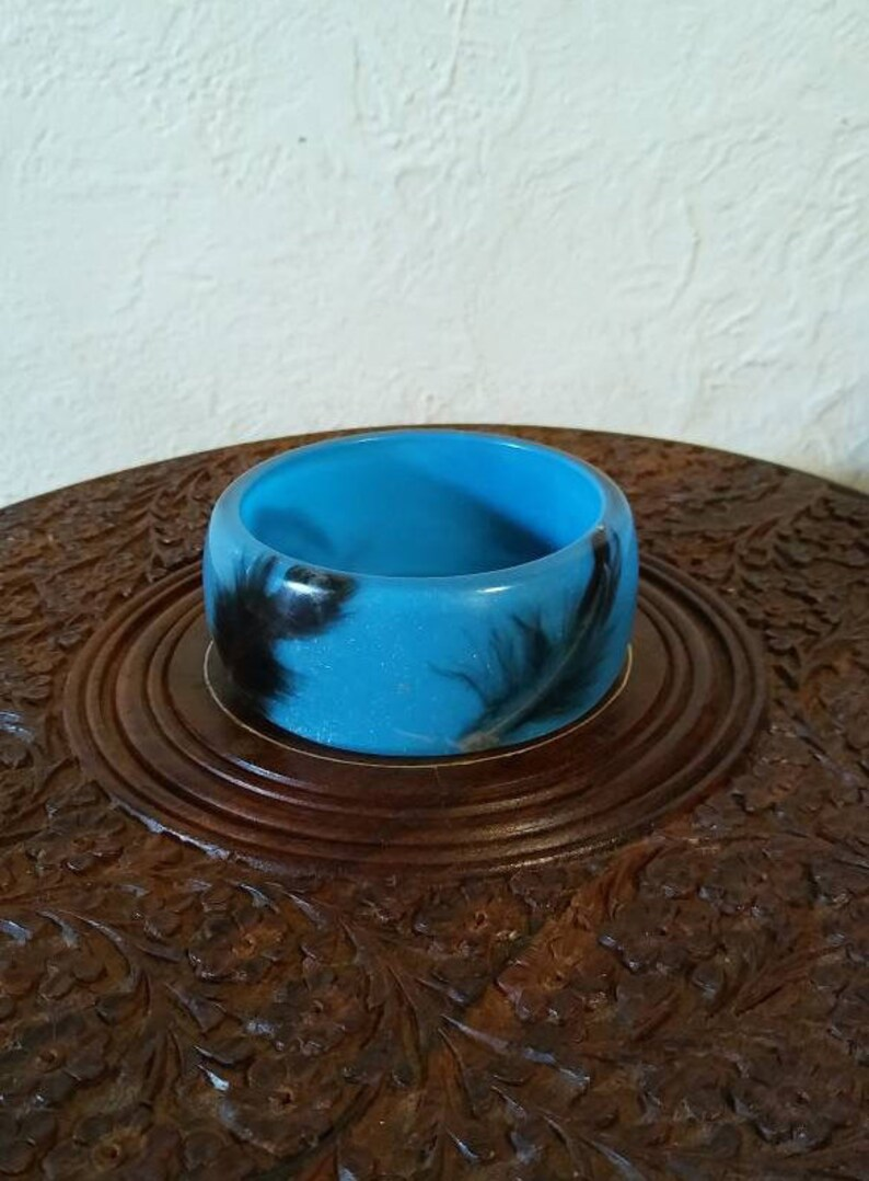 Sparkly Blue Wide Bangle Bracelet with Feathers Lucite Resin Plastic