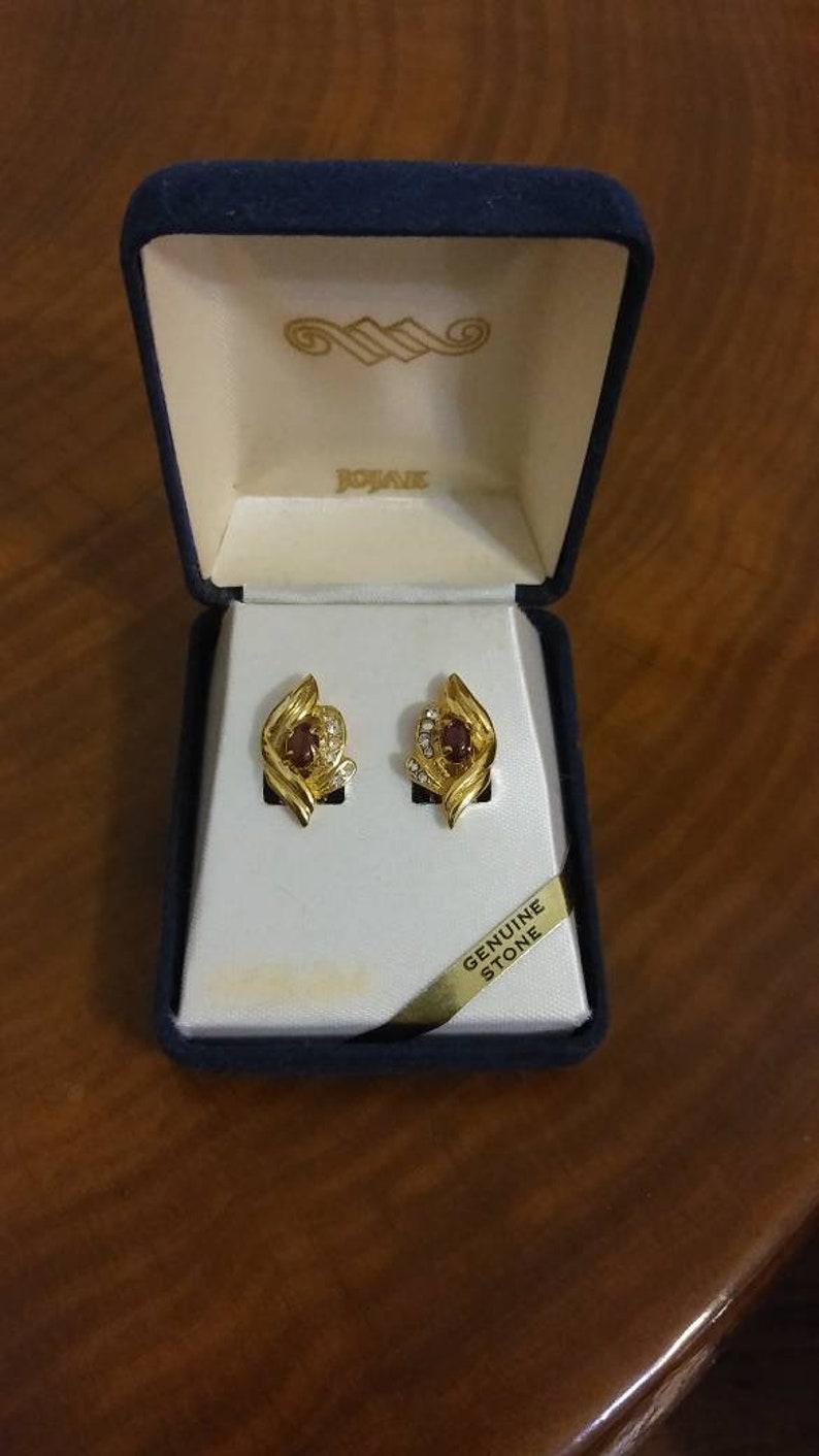 Clip On Gold Toned January Birthstone Gift Garnet and Rhinestone Earrings by Jojak