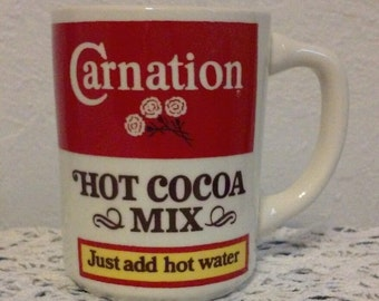 Vintage Carnation Hot Cocoa Mix Mug, Hot Chocolate, Just Add Hot Water