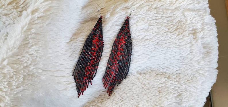 Red /& Black Handwoven Beaded Earrings
