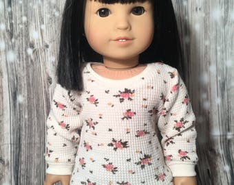 Fits 18 inch dolls such as American Girl- Cream floral long sleeve waffle knit tee