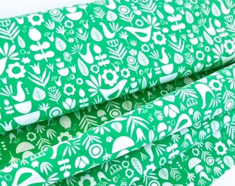 Scandi Folk Teal Small Batch Fabric Digitally Printed Juniper Blue Fabric