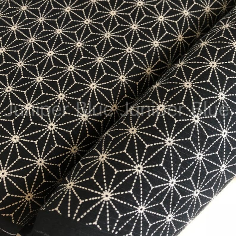 Textured Fabric White Stitches on Black Japanese Fabric Sashiko Stitches Asanoha