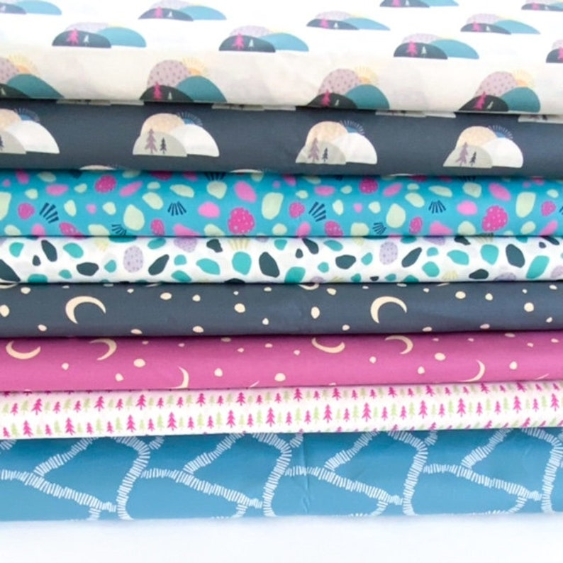 Digitally Printed Small Batch Fabric Juniper Blue Fabrics Boardwalk