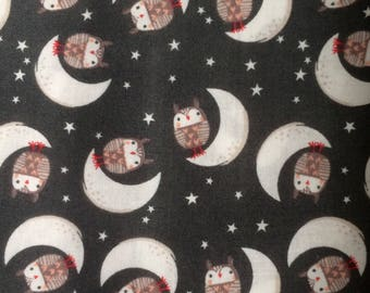 Charcoal Goodnight Forest Owls- Forest Buddies Collection, Fabric Editions, Quilting Weight