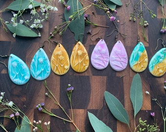 Large Polymer Clay Earrings Made From Real Botanical Impressions