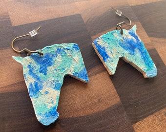 """Wood Painted Horse Earrings in """"Ocean"""""""