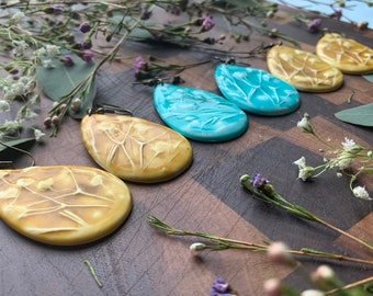 X-Large Polymer Clay Earrings Made from Real Botanical Impressions (Floral)