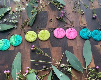 Small Round Clay Earrings Made With Real Botanicals