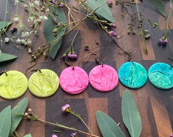 Large Round Clay Earrings Made From Real Botanicals