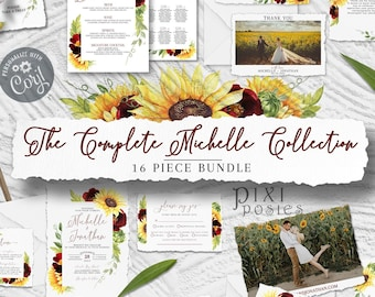 Michelle Complete Collection, 16 Piece Burgundy Rose and Sunflower Wedding Template Bundle with Photo Signs Invitation Fall Autumn Suite Set