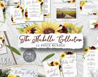 Michelle 12 Piece Set, Rose and Sunflower Wedding Invitation Signs Template Bundle, Menu Favor Program Bar Custom Sign Table Welcome Seating