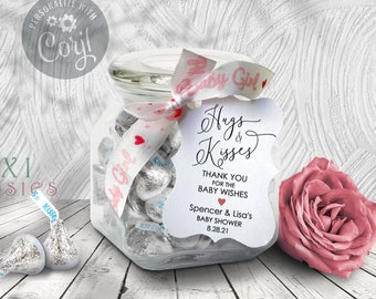 Boy or Girl Baby Shower Thank You Tag, Blue or Pink Heart Hugs and Kisses Thanks for the Baby Wishes Favor Tag 2.5 x 3.5 / 2 x 3 / 1.5 x 2.5