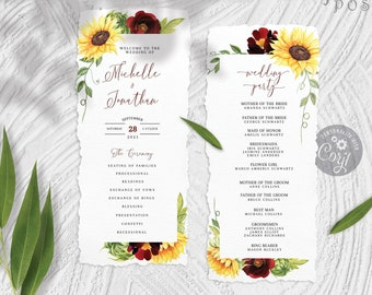 Rose and Sunflower Wedding Program Template, Corjl Downloadable 4 x 9 Yellow Burgundy Floral Watercolor Wedding Ceremony Program Template