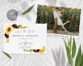 Rose and Sunflower Save The Date Template with Photo Insert, Editable Watercolor Burgundy and Yellow Floral Barn Country Wedding Template